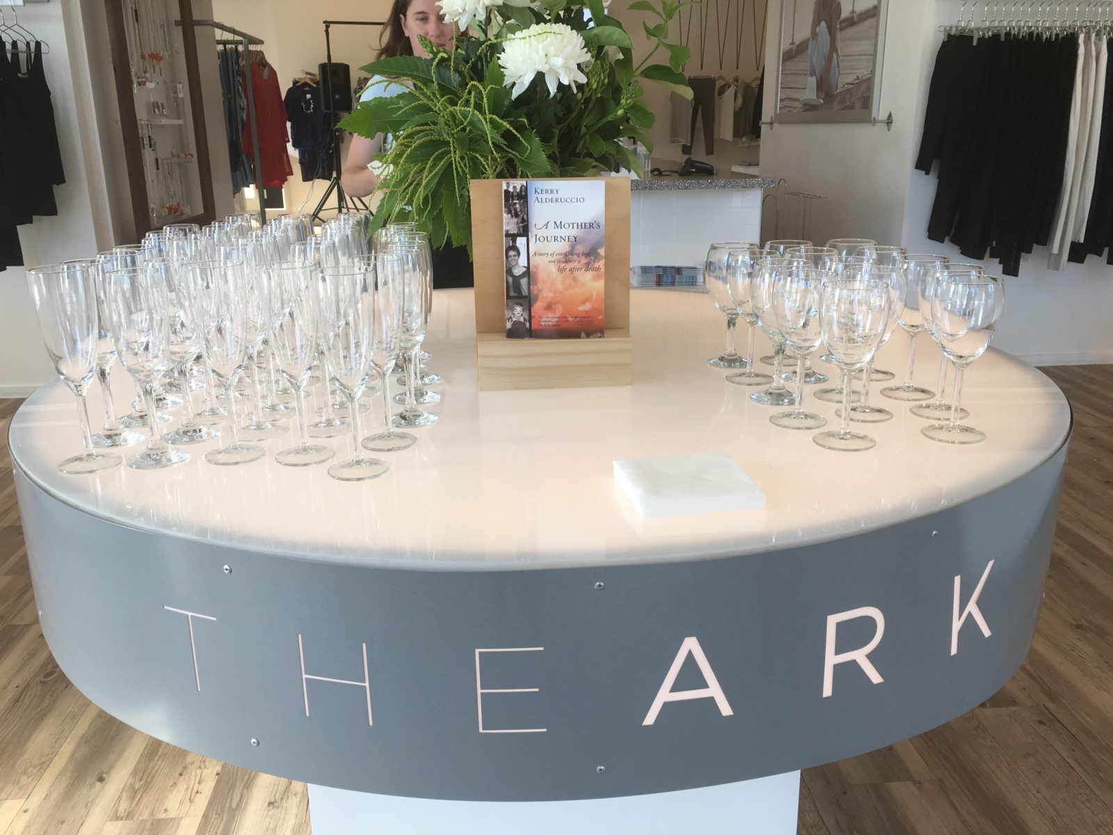 The welcoming display at The Ark for the conversations evening with Kerry Alderuccio